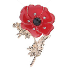 Painting Brooch Clothing Decor Pin jian Enamel Red Poppy Flower Corsage Oil