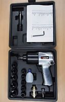 """17PC 1/2"""" Twin Hammer Air Impact Wrench Set w/Sockets Max Torque 750ft/lb"""
