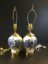 Pair Fine DELFT LAMPS Blue White Blue Onion Shape Brass Caps Bedroom Kitchen