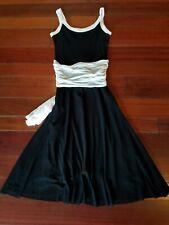 Petit Pois by Viviana G  Black with White Trim Mesh Dress Medium -EUC