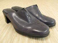 Clarks Blue Leather Mules Women's Size US 7.5 M Slip On Heels Round Toe