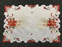 Christmas Holiday Red Poinsettia Embroidery Cutwork Table Placemat Runner White