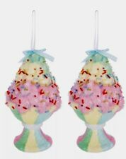 Lg Ice Cream Sundae Candy ORNAMENTS S/2 SUGAR COATED XMAS TREE DECOR WREATH