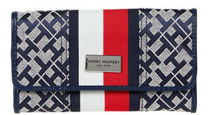 NEW Tommy Hilfiger Logo Red White Stripe Checkbook Wallet Clutch Bag - Navy Blue