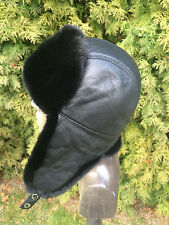 Mink Fur Ushanka Hat. Leather Top. Real Genuine Aviator Ushanka Hat for Men's