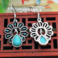 1Pair Boho Turquoise Tibetan Silver Peacock Hook Dangle Earrings Women Jewelry