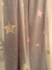POTTERY BARN KIDS SHEER PANEL PATCHWORK STAR PINK YELLOW GREEN GINGHAM 44x96