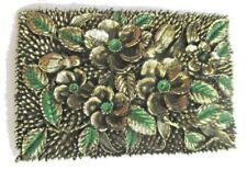 9e2bf0062dd boucle de ceinture ancienne motif floral bijou vintage couleur or et vert  3199