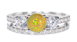 White Gold Plated Golden Mexican Fire Opal Engagement Wedding Silver Ring Set