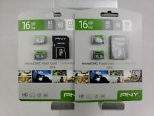 x2 PNY 16GB 2 Pack Micro SDHC Cards Class 10 w/ Adapter - 4 Cards, 16gb each NEW