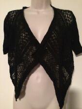 ARIZONA Womans Size S Black Short Sleeve Open Weave Buttonless Shrug Sweater NEW