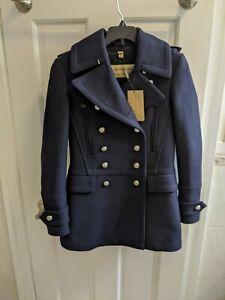 Burberry Milbridgen Military Double Breasted Wool Navy Pea Coat NEW Size 4