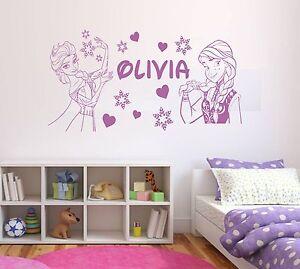 Personalised Frozen Elsa & Anna Disney Wall Art Vinyl Sticker Girls Bedroom