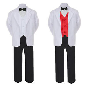 5-7pc Formal Black White Tuxedo Suit Red Bow Necktie Vest Boy Baby Sm-20 Teen