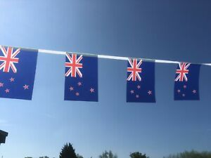 Flag of New Zealand Fabric Bunting 36ft /11.0m 40 Flags Free 1st Class