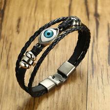 Vintage Mens Braided Bracelet Evil Blue Eye Hematite Charm Wristband Luck Gift