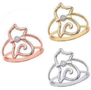 Solid Yellow White Rose Gold Openwork Sitting Kitten Cat Diamond Bow Tie Ring
