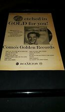 Perry Como Como's Golden Records Rare 1958 Promo Poster Ad Framed!