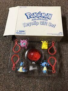 Pokemon Keychains Keyclip Gift Set Pikachu Clefairy Horsea Lapras Pokeball