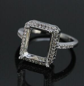 14K White Gold Diamond Accent Halo Design OCT 9X11mm Semi Mount Ring Setting