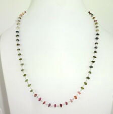 8 Gms 925 SOLID STERLING SILVER NECKLACE OF NATURAL TOURMALINE GEMSTONE