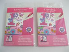 New! Lot Of 2 Packs Pink 1st Birthday Party Invitation Kits Butterfly Flower 16