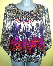Ladies Womens Casual 3/4 Sleeve Peasant Blouse Chiffon Shirt Top Millers Size 18