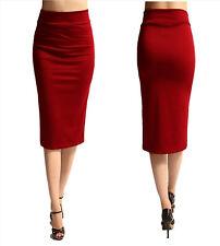 WOMENS Wear Work Business Career OL Stretch Pencil A MIDI SKIRT DRESS RED Small