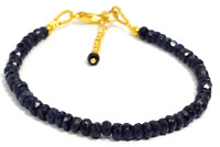 3-4 MM Dyed Blue Jade Rondelle Gemstone Faceted Beads Bracelet With Chain