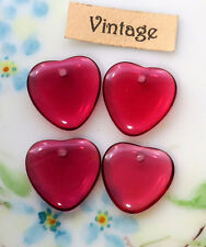 Vintage Glass Heart Drops Charms Dangles Beads Plum Hearts Lot NOS #1126A