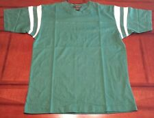 TIGER HILL~CREW NECK JERSEY~L~GREEN W/WHITE STRIPED SLEEVES~100% COTTON~NWOT