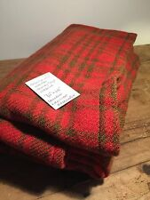 "VINTAGE 100% WOOL HAND WOVEN PLAID BLANKET - FABRIC -72 "" X 68""- NEEDS TLC"