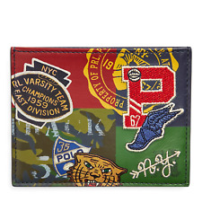 Polo Ralph Lauren Leather Camo Print P-Wing Graphic Card Case Wallet New