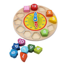 Early Educational Wooden Shape Sorting Clock for Kid Teaching Aids Toy N7