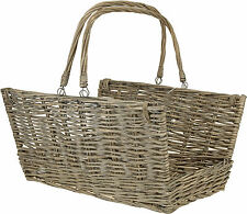 Large Traditional Natural Wicker Log Basket Open Ended Fireplace Hearth Basket