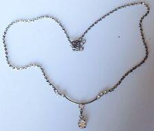 collier pendentif rétro couleur argent pampille solitaire cristal diamant 493