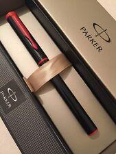 NEW PARKER BETA BLACK/RED TRIM BALLPOINT PEN-BLUE INK-GIFT BOX