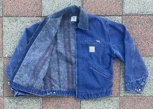 Vintage Carhartt Blue Denim Jacket Work Duck WIP Detroit Blanket Lined USA M/L
