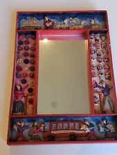 Folk Art Mirror - Hand Crafted Pervian Potatoe Plaster Mirror with Embellishment