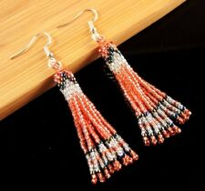 Handmade Bohemian Style Miyuki Japanese Seed Light Red Beaded Earrings #797
