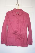 La Redoute Collections Sz 6 Pink Linen/Cotton Belted Button Front Jacket Shirt