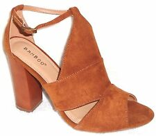 NEW BAMBOO EMBARK - 05M CHESTNUT SUEDE CHUNKY HIGH HEEL SANDALS 9 M