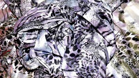 POLYESTER STRETCH RIBBED MESH PURPLE LILAC ANIMAL LEOPARD PRINT SILKY PER METRE