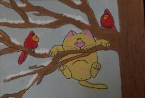 CAT ACEO-the purrfect plan-kuttiekatz