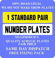 NUMBER PLATES 1 PAIR SAME REG REGISTRATION PLATES CAR PLATES 1st CLASS FREE POST