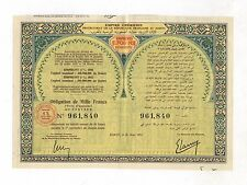 MAROKKO – Empire Chérifien – 4% Obligation, 1000 Francs, RABAT, 29.03.1952