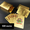 54 Playing Cards 500 euro Waterproof Gold Foil Plated Cover Poker Table Games