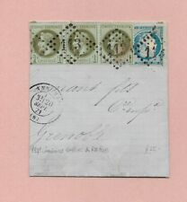 FRANCE 1871 ca HALF STAMPED ENTIRE, ANNONAY> GRENOBLE 3 x 1c EMPIRE + 20c REPUB