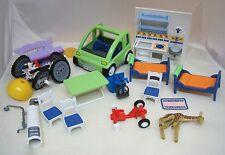16 Piece Playmobil Geobra Part Pieces Cars Beds Kitchen Chairs 1989-1999 More