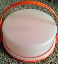 Vtg Tupperware Sheer Orange Cake Carrier Taker Handle 684–8 Rare Retro Kitchen!